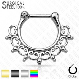 Piercing septum tribal dentelle acier chirurgical