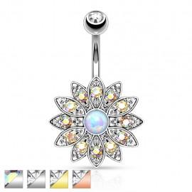 Piercing nombril fleur opale