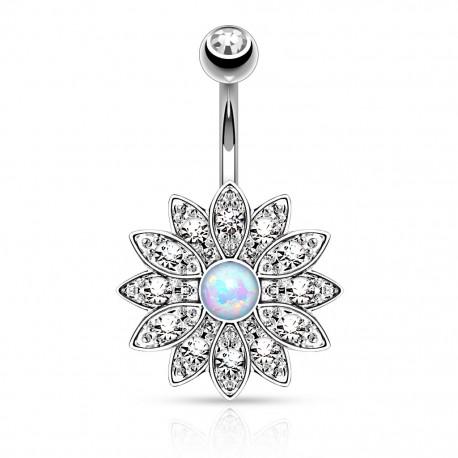 Piercing nombril fleur opale aurore boréale