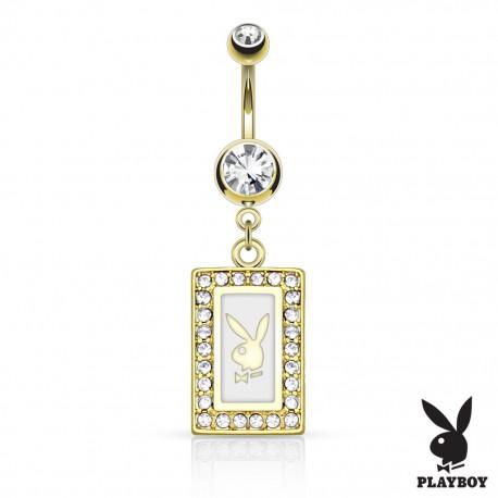 Piercing nombril Playboy cadre plaqué or blanc