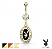 Piercing nombril Playboy médaillon plaqué or noir