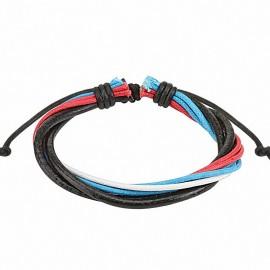 Bracelet homme cuir rouge blanc bleu noir