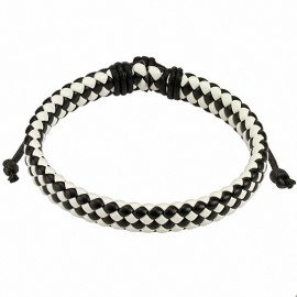 Bracelet homme carreaux cuir noir et blanc