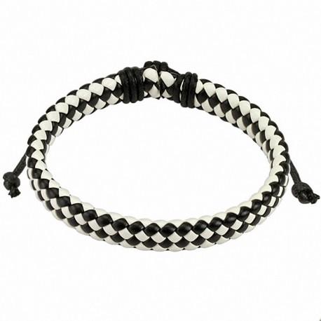 Bracelet homme carreaux cuir noir et blanc - Carreaux noir et blanc ...