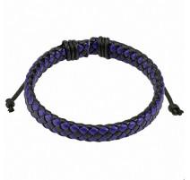 Bracelet homme carreaux cuir noir et bleu