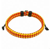 Bracelet homme carreaux cuir rouge et jaune