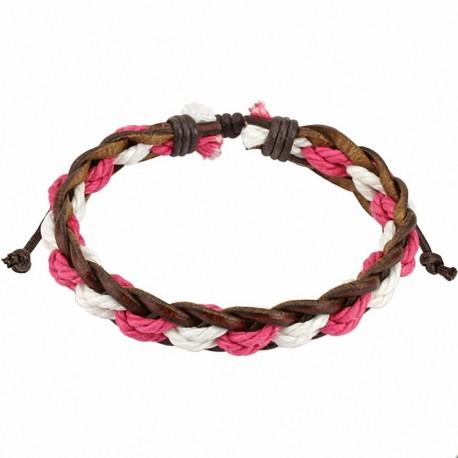 Bracelet cuir marron cordes roses