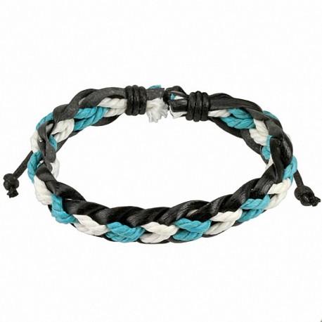 Bracelet homme cuir noir cordes bleues