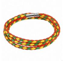Bracelet cordes rouge vert jaune