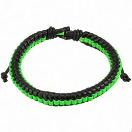 Bracelet homme cuir noir et vert
