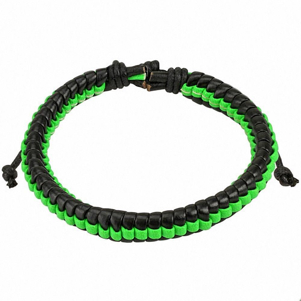 bracelet homme cuir noir et vert. Black Bedroom Furniture Sets. Home Design Ideas