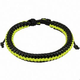 Bracelet homme cuir noir et jaune