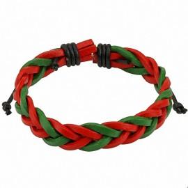 Bracelet homme cuir rouge et vert