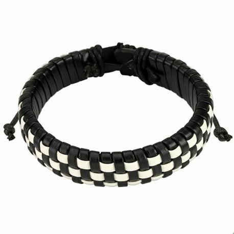 Bracelet homme damier cuir noir et blanc