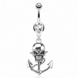 Piercing nombril ancre marine skull
