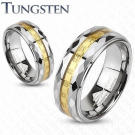 Bague tungstène facettes dorée