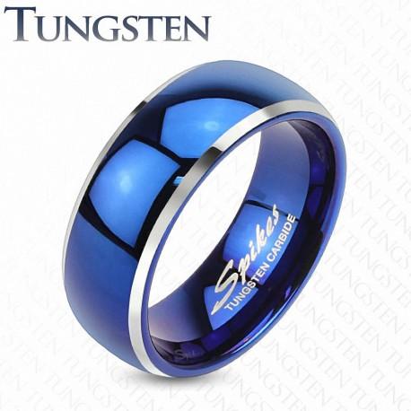 Bague tungstène homme bleue