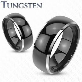 Bague tungstène noire dôme