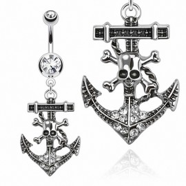 Piercing nombril ancre marine pirate