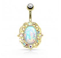 Piercing nombril plaqué or pierre opale