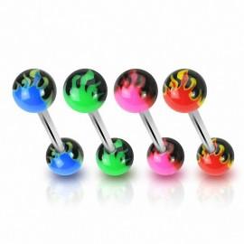 Piercing langue Boules acrylique Flammes