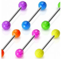 Piercing langue Boules Disco Fluo