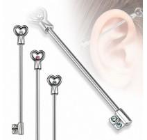 Piercing industriel clef coeur
