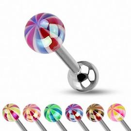 Piercing Langue Boule Candy Couleurs Métalliques