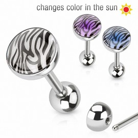 Piercing langue zébré réactif au soleil