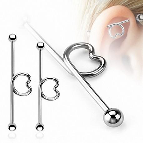 Piercing oreille Industriel Loop Coeur Boules