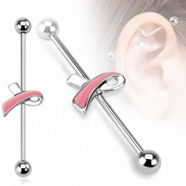 Piercing industriel ruban rose