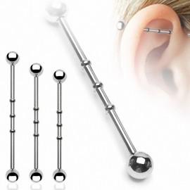 """Piercing oreille Industriel """"Notch"""" Boules"""