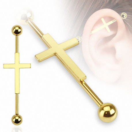 Piercing industriel croix dorée