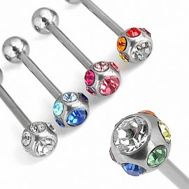"Piercing langue ""7 GEM"" en acier chirurgical"