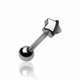 Piercing langue Etoile 5 mm en acier chirurgical