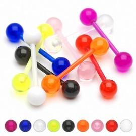 Piercing langue Bioflex Boules Acrylique UV