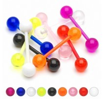 Lot de 8 piercing langue Bioflex billes UV