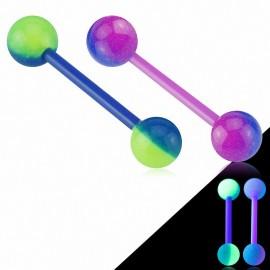 Piercing langue Bioflex 2 couleurs Glow in the dark