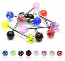 Piercing langue acrylique 10 gemmes