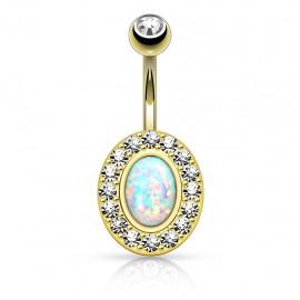 Piercing nombril plaqué or opale