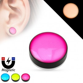 Faux piercing plug magnétique glow in the dark