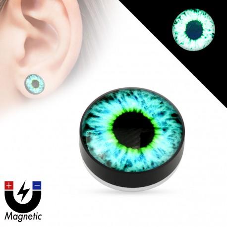 Faux piercing plug magnétique glow in the dark oeil bleu