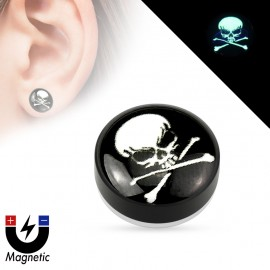 Faux piercing plug magnétique glow in the dark crâne