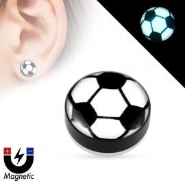 Faux piercing plug magnétique glow in the dark ballon de foot