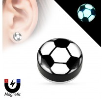 Faux piercing plug magnétique glow in the dark ballon de foot