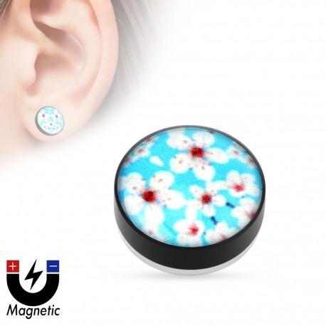 Faux piercing plug magnétique fleur sakura