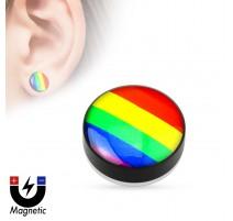 Faux piercing plug magnétique Gay Pride