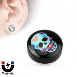 Faux piercing plug magnétique sugar skull
