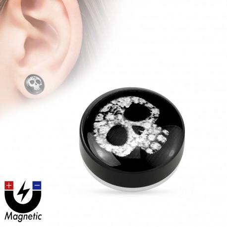 Faux piercing plug magnétique crâne floral
