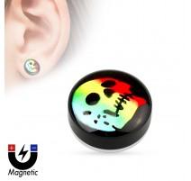 Faux piercing plug magnétique crâne rainbow